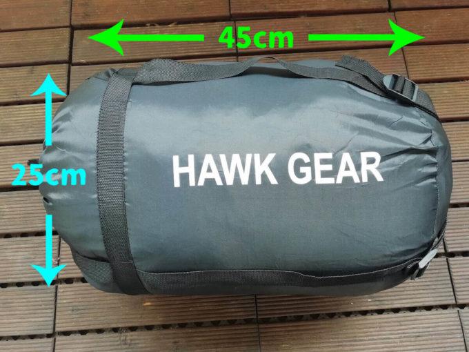 ホークギアの寝袋収納サイズ